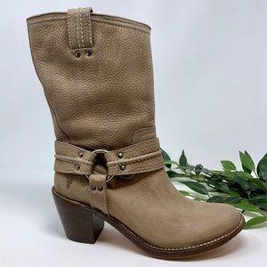 FRYE SINGLE Harness Tan Leather Western Boot 10